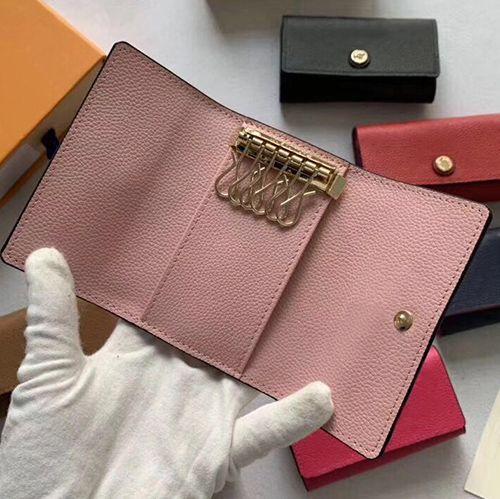 Новый ключ кошелек леди держатель многоцветной кожи ключ Оптовая верхнего качества короткие шесть ключ бумажника для женщин классический карман на молнии цепи