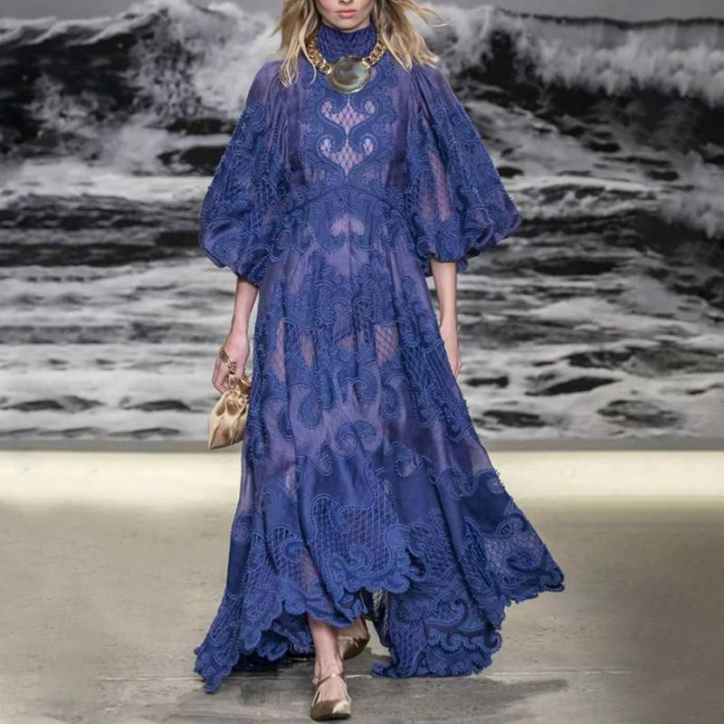 2020 المصمم الشهير تصاميم أسلوب القصر التطريز جوفاء زهرة الوقوف طوق فانوس كم فستان تنورة طويلة