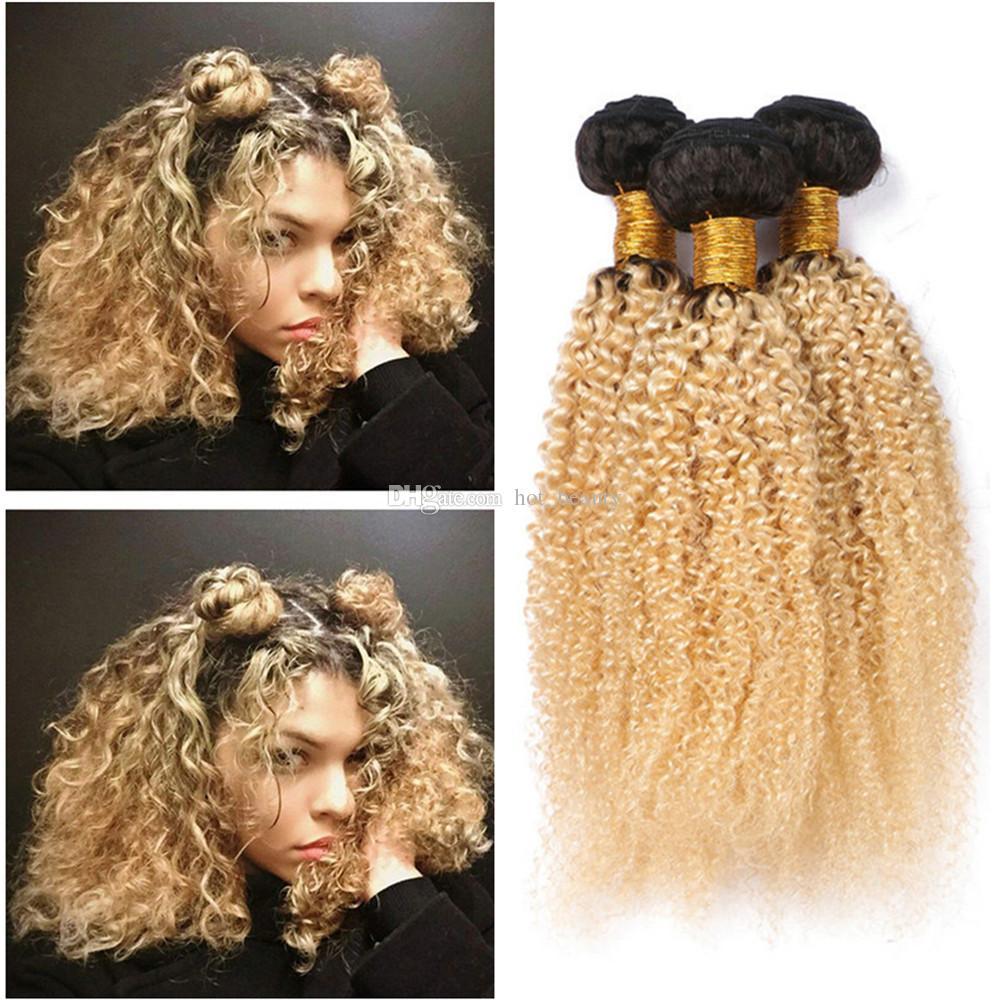 Dark Root Blonde Kinky Curly Hair Extensions Virgin Peruvian Human Hair Two Tone 1b 613 Platinum Blonde Hair Extensions Ombre Wefts Natural Curly Hair