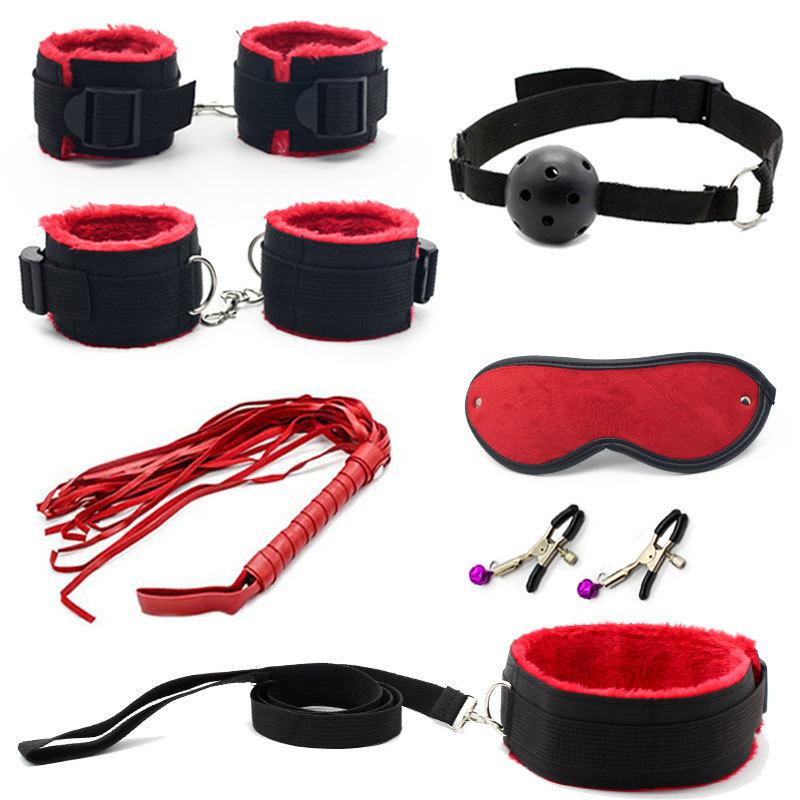 7 Pcs Bondage Set Cotton Red,bdsm Restraint Sex Toys For Couple Handcuffs Sexy Mark Whip Collar For Adult Slave Game Sex Product Y190716
