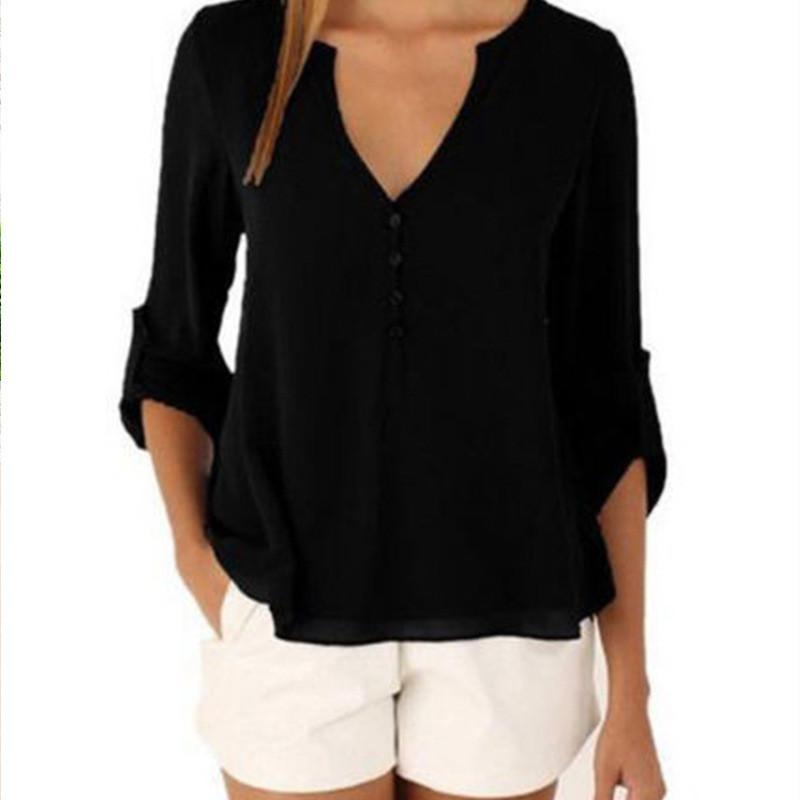 Женщины V шеи Нерегулярные рубашка с длинным рукавом Сыпучие талии вниз Плюс Размер Блузы Famale Повседневный Top