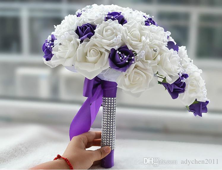 Eleganter heißer Verkaufs-purpurroter weißer Brautstrauß-künstlicher Wasserfall-Blumen-Brautjungfer-romantisches handgemachtes PE-Hochzeitsblumenstrauß für Braut