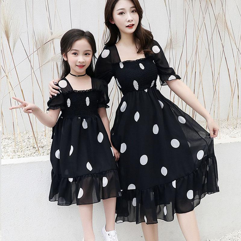 Mother Daughter Dot Print Chiffon Dress Summer Backless Family Matching Dresses Mommy And Me Clothes Family Look Outfits