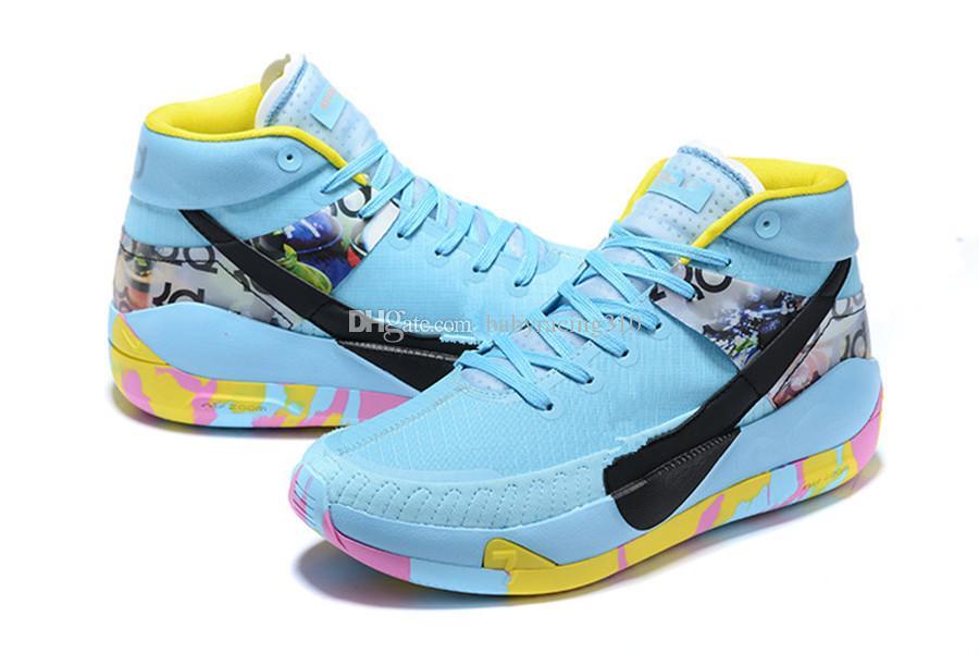 2021 كيفن durant xiii kd13 ميامي شنغهاي لوس أنجلوس شفاء أحذية كرة السلة العالمية KD 13S أزرق أسود أبيض الرجال الرياضة أحذية رياضية