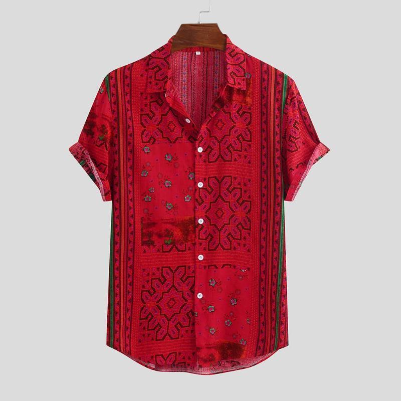 Stripe camisa dos homens Feitong Verão de 2020 para baixo botões de manga curta soltas da camisa havaiana Casual impresso Red Blusas