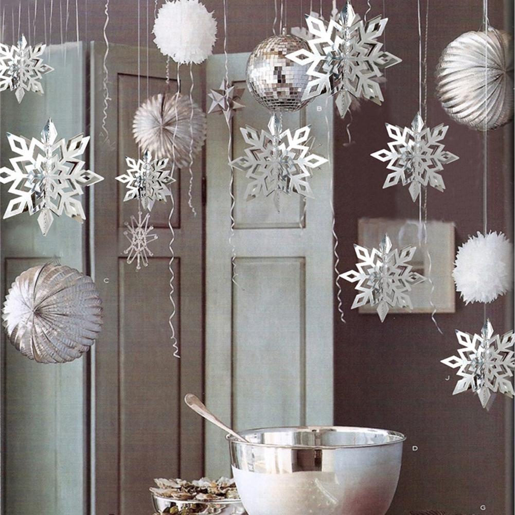 6pcs / set Frozen Réceptions forme d'argent flocon de neige papier Garland Décoration de mariage de Noël Scène Nouvel An Décor SPA115