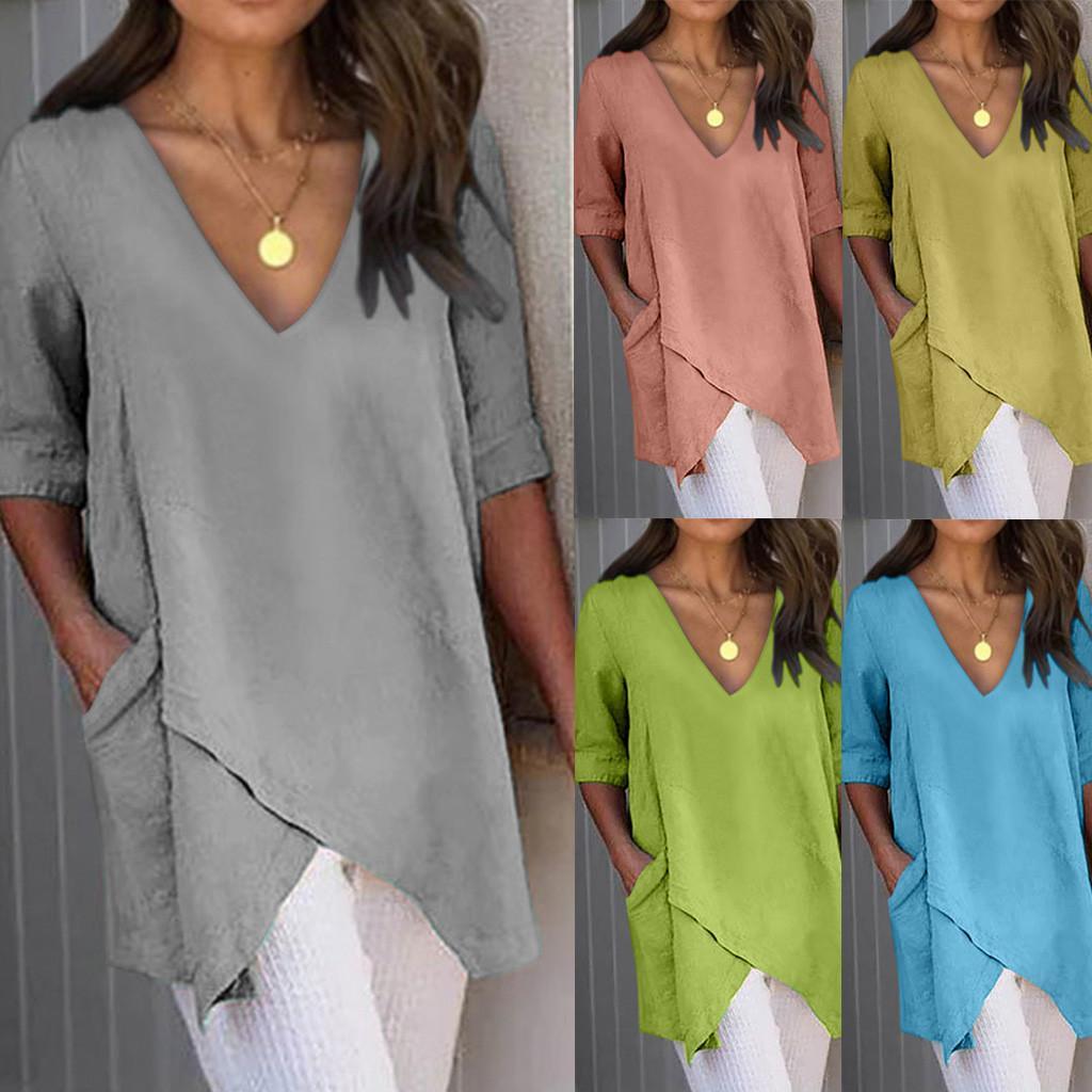 Yeni Tişörtü Kadınlar Casual Katı Düzensiz V-Yaka Kısa Kollu Tişört Poleras Camiseta Mujer Harajuku T Shirt Pockets