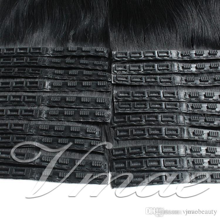 European Russian Brazilian 100g Natural color soft brown blonde Straight Remy Virgin Unprocessed Buckle skin weft Tape Human Hair Extensions