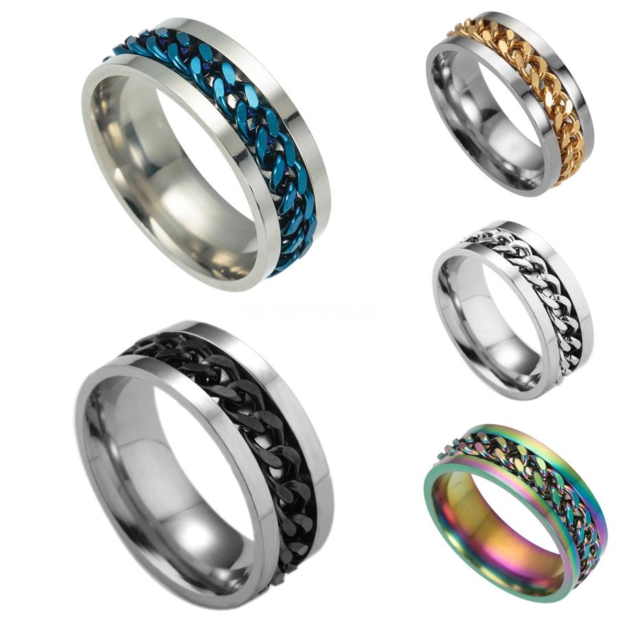 Collier Refroidir Curb Chain Cross Casual Hommes Bijoux pendentif anneau en acier inoxydable # 595