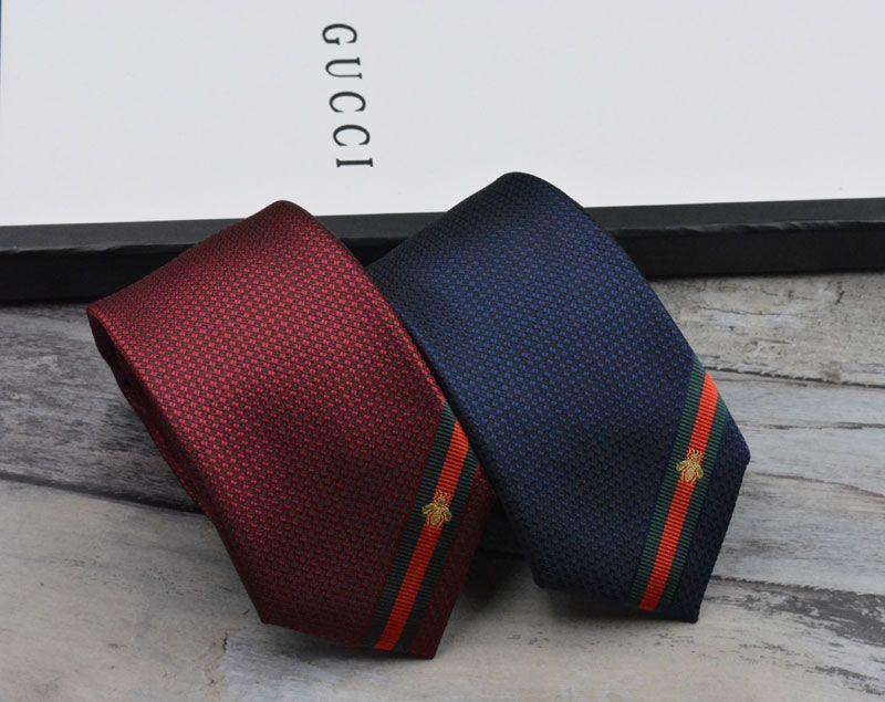 남성 넥타이 새로운 브랜드 남자 패션 벌 자수 넥타이 험버 Gravata 슬림 타이 클래식 비즈니스 캐주얼 블루 와인 레드 타이 남성용