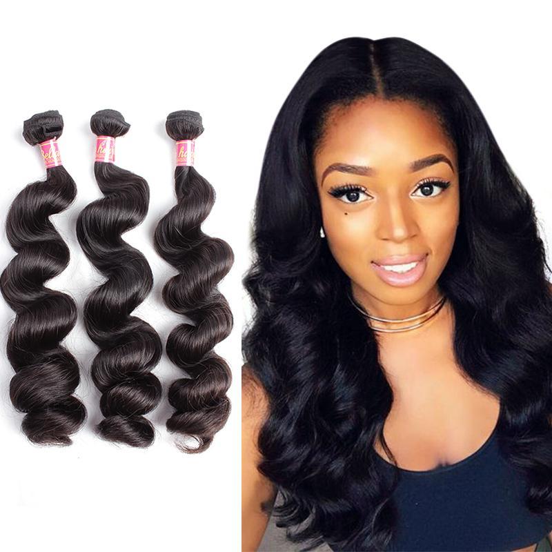 Bella Hair® Brazilian Bundles Unprocessed Virgin Human Hair Weave Loose Wave Weft Natural Black 3pcs julienchina