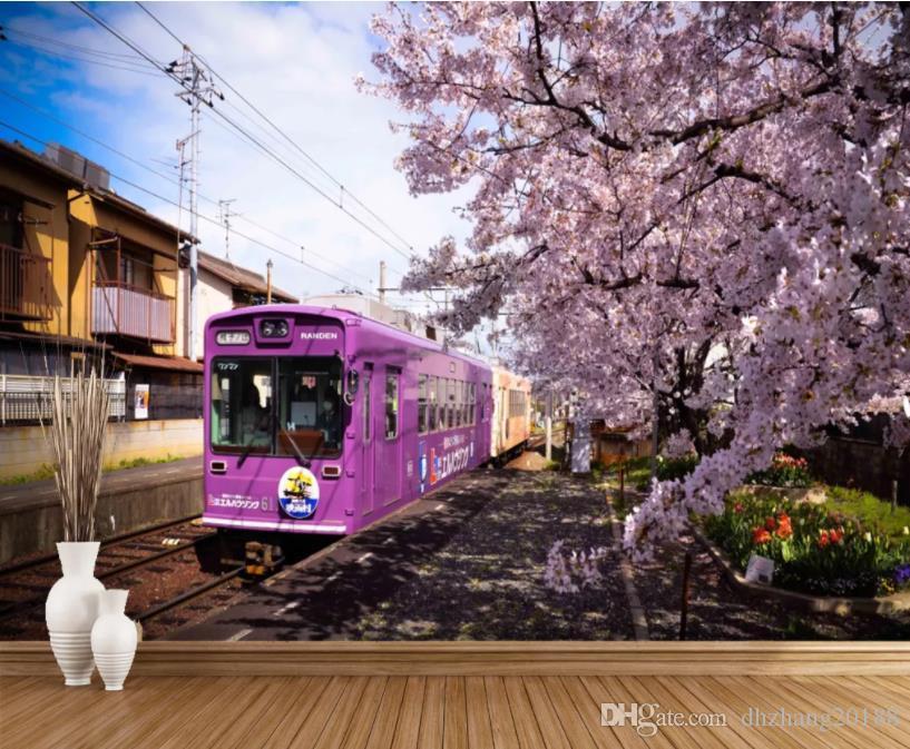 carta da parati moderna per soggiorno Train fiori di ciliegio TV parete di fondo