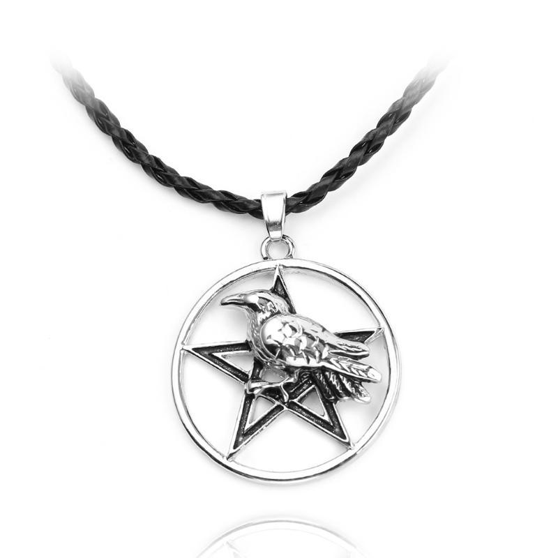 Five-pointed Star ODIN Crow Witchcraft Amulet Pendant Gothic Raven Bird Amulet Pendant Necklaces Wiccan Pagan Charms Jewelry Gif