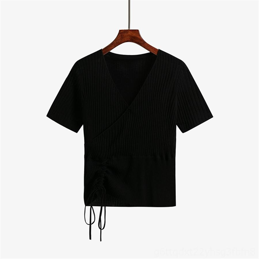 Las mujeres del cordón versátil de manga corta floja camiseta hecha punto V-cuello 2020 Duan Xiu cordón 6011 de las mujeres versátiles de manga corta floja