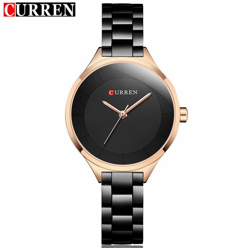 2018 Curren Women Watches Luxury Gold Black Full Steel Dress Jewelry Quartz Watch Ladies Fashion Elegant Clock Relogio Feminino Y19052001