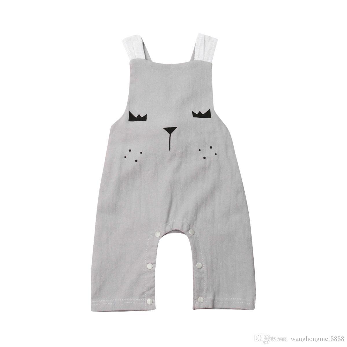 Il più nuovo neonato caldo neonato Baby Girls Cotton Animal senza maniche Pagliaccetto Bow tuta Playsuit Abiti Estate vestiti