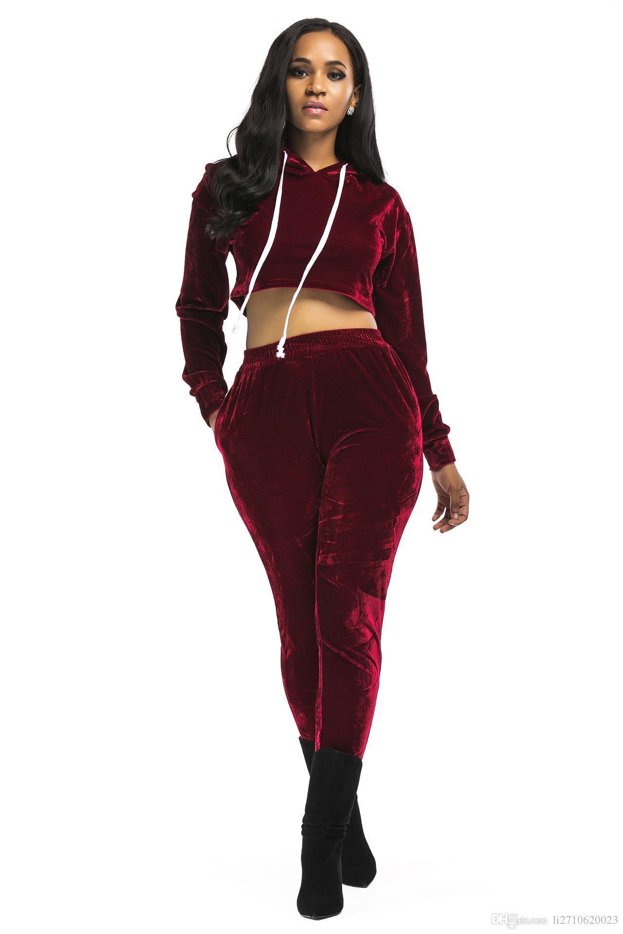 New Arrival 2018 Velour Tracksuit Women 2 Piece Set Top and Pants Velvet Tracksuits Sweatsuit Hoodie Sweatshirt Plus Size
