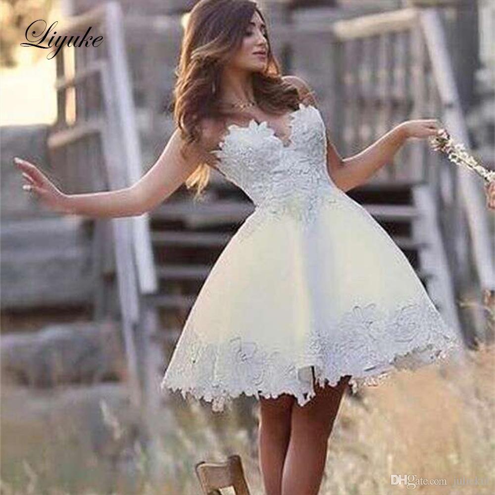 Discountsweetheart Short Wedding Dresses 2019 Applique Sleeveless Backless Bridal Gown A Line Mini Bride Dress Plus Size Custom Made Liyuke From Juliekui 92 62 Dhgate Com