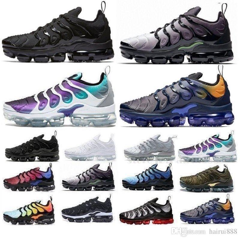 Novos 2020 TN Além disso geométricas ativos preto fúcsia Homens Mulheres Running Shoes Grade Imprimir Lemon Lime jogo real Formadores Sports Sneakers 36-45
