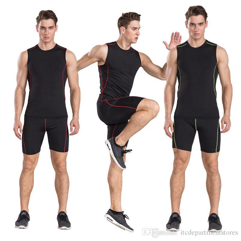 Correndo Set Esporte Terno Dos Homens Roupas de Poliéster Desgaste do Esportista Ginásio Vest + Shorts Secagem Rápida Treino de Corrida Sportswear
