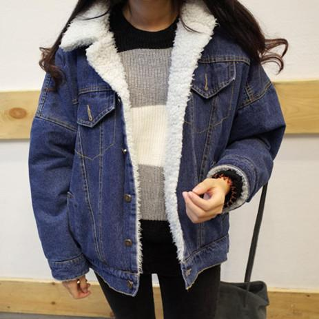 Oversized Denim Jacket For Women Winter 2019 New Arrival Thicken Lamb Fur Turn-down Collar Plus Size Coats And Jackets Women
