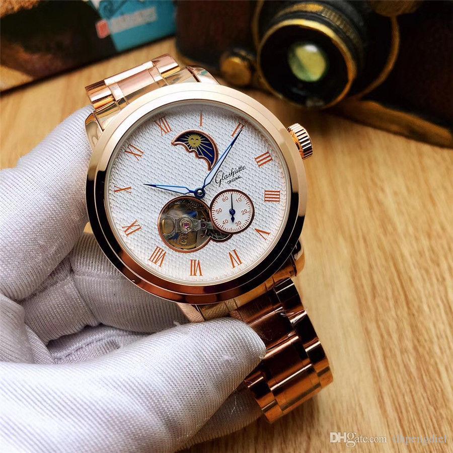 hombre de lujo marca de relojes mecánicos diseñador de moda Todos Sub línea Trabajo hombres y de mujeres que compite con los relojes de la correa de acero sólido a prueba de agua diario