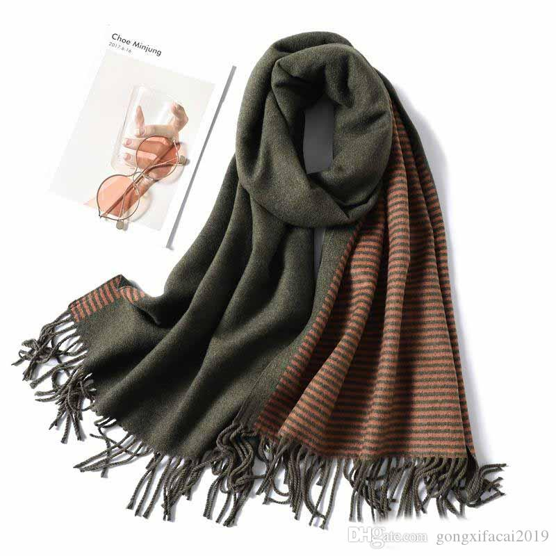 Winter-Schal für Frauen Art und Weise Striped Kaschmir Schal und Verpackungs-Dame Pashmina Bandana Dicken Hals Weiblich Foulard Schal 2019 Neues Zubehör