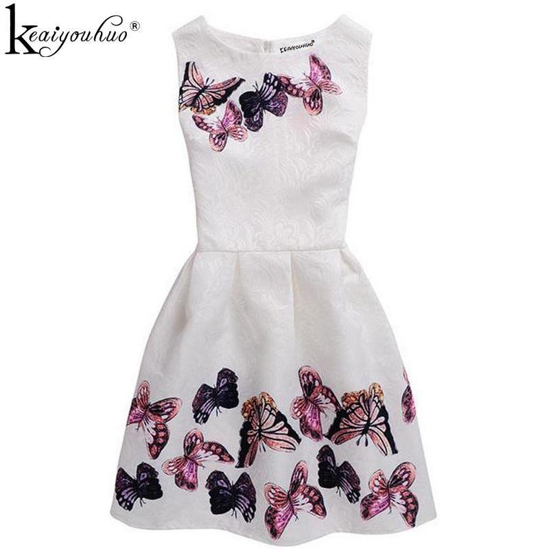 KEAIYOUHUO 2017 Sommer-Weiß-Mädchen-Kleid-Blumendruck Sleeveless formale Partei-Kleider für Mädchen-Kleidung Weihnachtskleid Vestidos