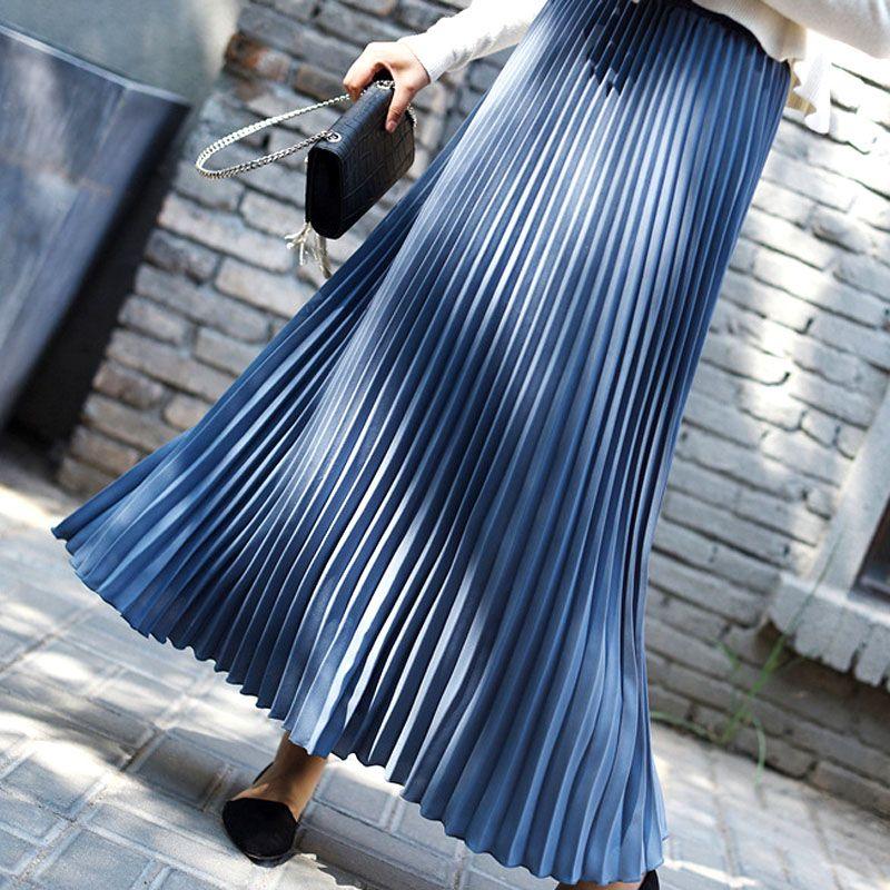 bca51c2c269191 Acheter 2019 Nouvelle Dame Jupes Femmes Pure Couleur Jupe Plissée Femme  Midi Jupe Casual Taille Haute Métallique Plissé Vêtements De $9.95 Du ...