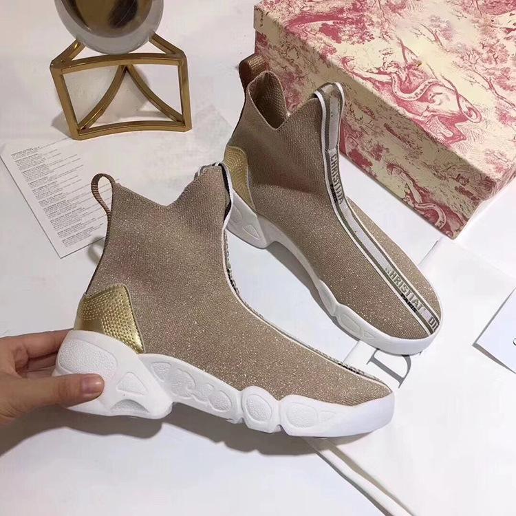 19 yıl yeni örgü mektubu logosu çorap çizmeler kalın alt sünger kek elastik kısa çizmeler moda Avrupa bayan ayakkabıları