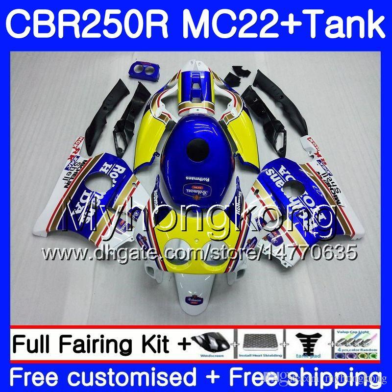 Iniezione + Serbatoio per HONDA CBR 250RR CBR250RR 90 91 92 93 94 263HM.0 MC22 CBR 250 CBR250 RR 1990 1991 1992 1993 1994 Carenatura Rothmans Blu