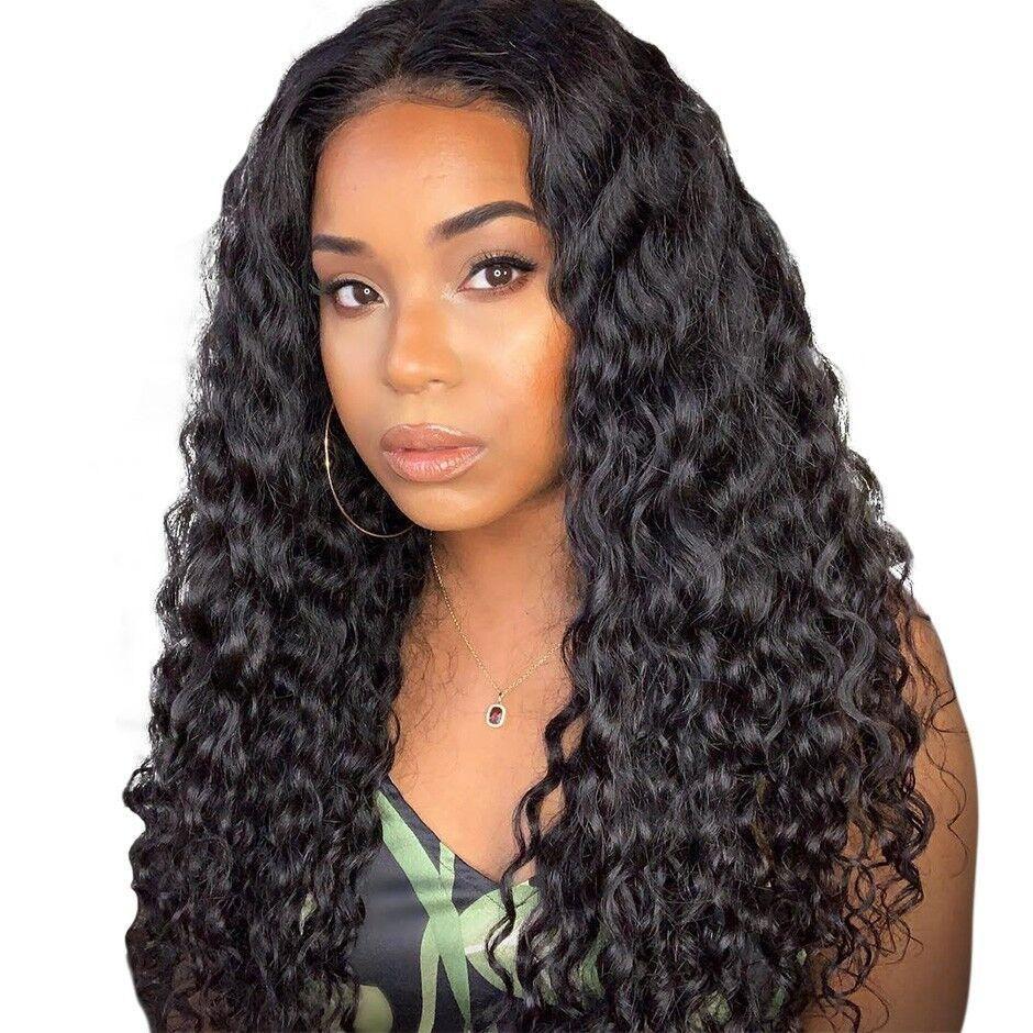 Onda profunda cabelo humano rendas frente Wigs Lace Encerramento brasileiro Perucas Humano Encerramento Pré arrancado com bebê cabelo para as mulheres