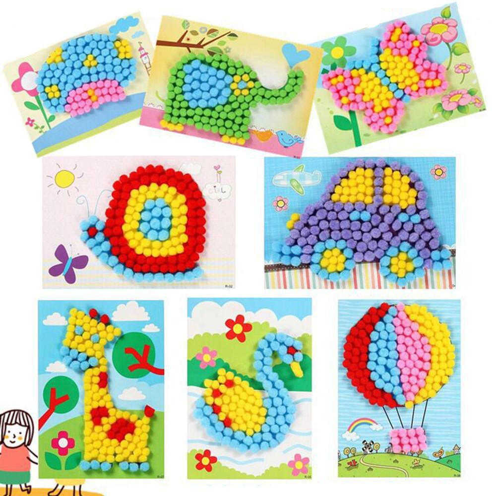 Kids Creative Handmade 3D EVA Foam DIY Plush Ball Painting Stickers Children Educational toys puzzle order 20 Pcs Mix Wholesale