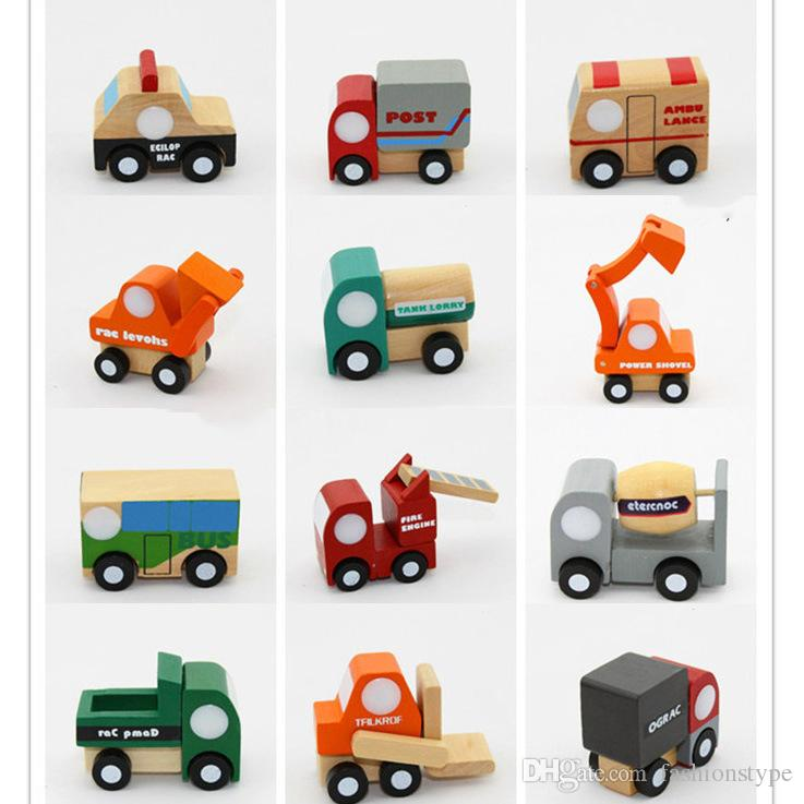 Cute Mini Various Wooden car airplane Kids Toys Soft Montessori wooden Kids Vehicle Toys For Children Boys Girls Gift 12pcs/lot