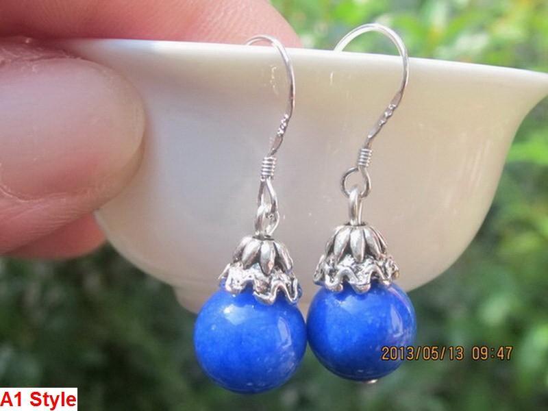 도매 쌍 / 2pcs 아시아 티베트 실버와 Lazuli 구슬 드롭 귀걸이