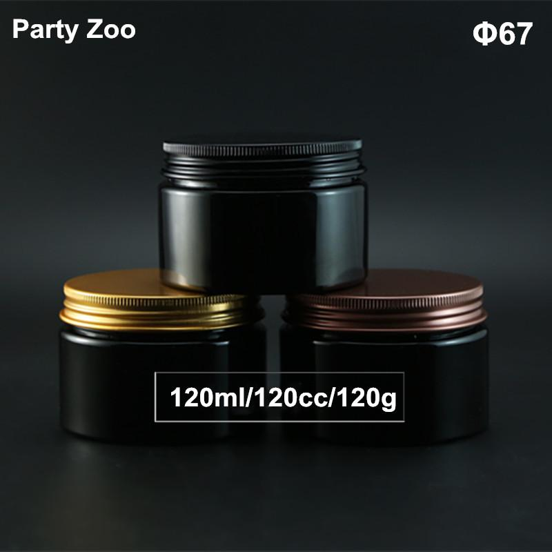 4OZ Empty Black PET Cosmetics Cream Wide Mouth Container With Gold Aluminum Screw Lid 120ml Cosmetic Powder Bottle Jar
