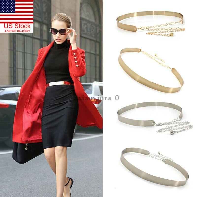 2020 Female Fashion Metal Belt for Dresses Womens Fashion Gold Full Metal Plate Mirror Fashion High Waist Belt One Size
