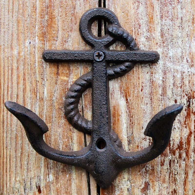 8 Pieces Rustic Cast Iron Anchor Hook Wall Hanger Decor Nautical Towel Coat Holder Nautical Ocean Beach Cottage Door Vintage Brown Organizer