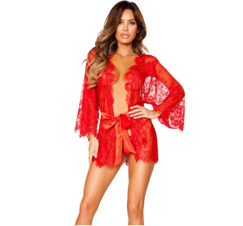 المرأة مثير Sleepdress اللباس الغريب الصيف شبكة الرباط انظر من خلال اللباس الأحمر البسيطة