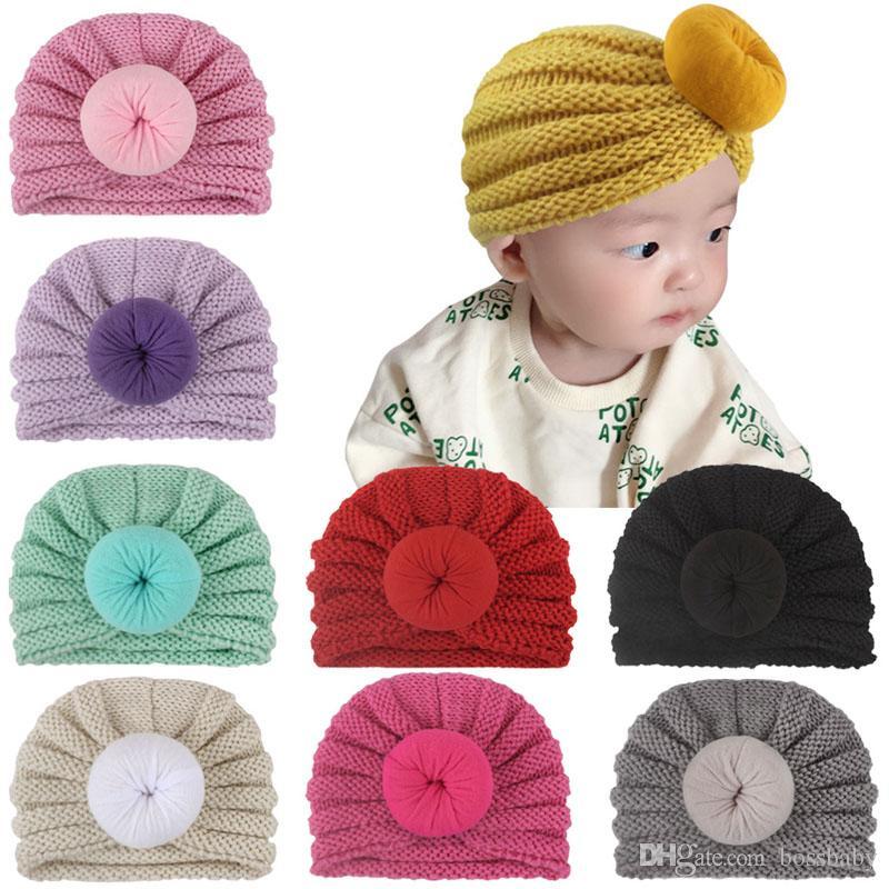 Infants Kids Knit Hats 8 Colors Solid Donut Keep Warm Crochet Hats Newborn Girls Hat Kids Boys Winter Caps 07