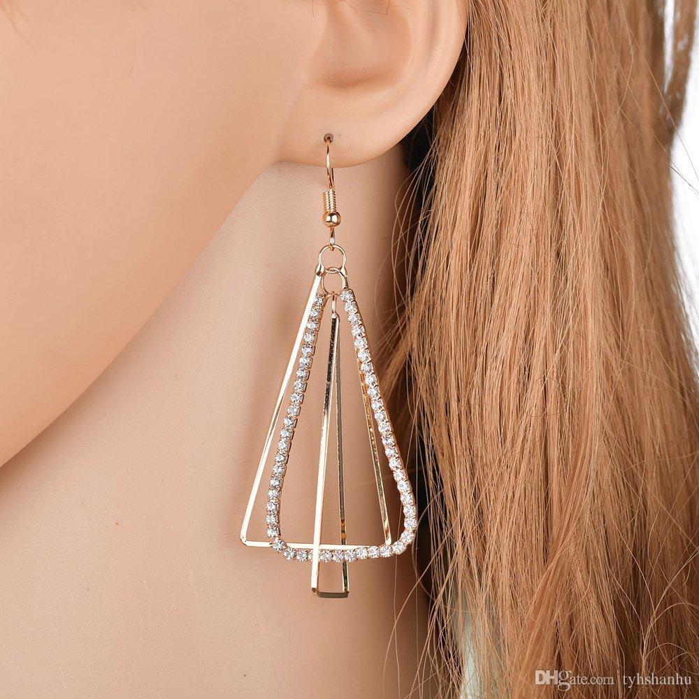 Long Dangle Earrings for Woman Double Layer Drop Earring Full Rhinestone Paved Female Dangle Earrings Female E2565