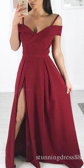 Vintage Kalte Schulter Abendkleid 2021-Seiten-Schlitz Chiffon mit Ärmeln V-Ansatz faltet in voller Länge Abend Brautjunfer-Partei-Kleid Günstige