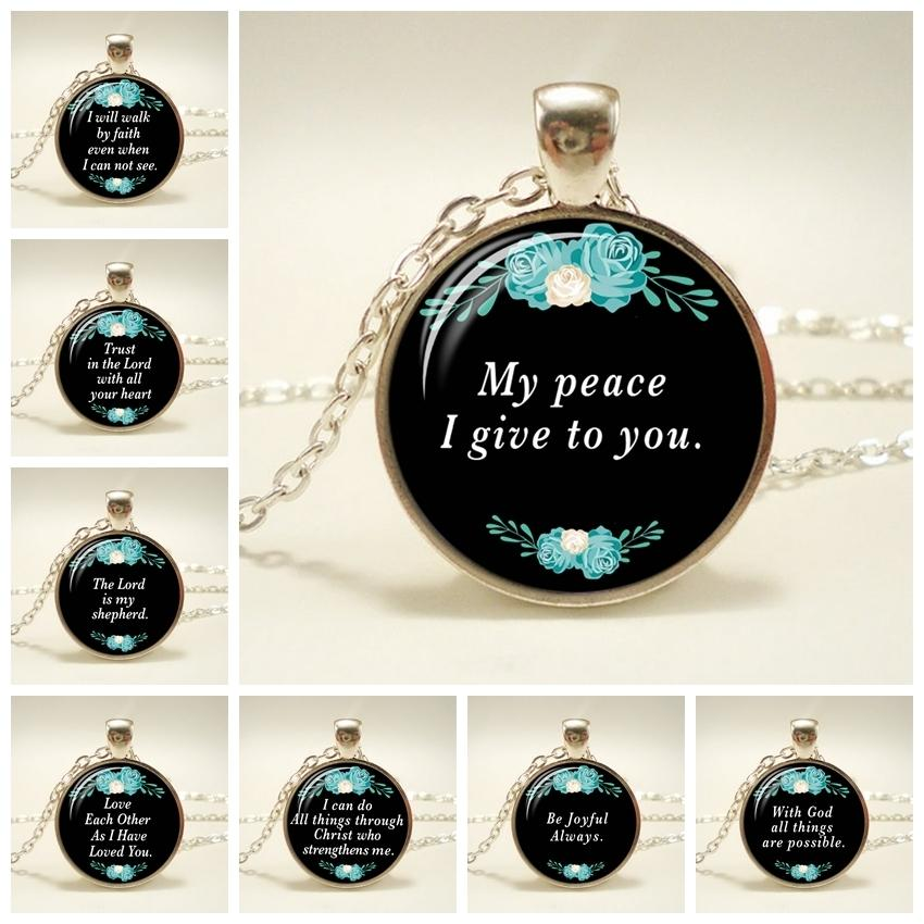 Bible Verses Glass Dome Pendant Necklace God Scripture Quote Jewelry Christian Christmas Jewelry Mother Sister Anniversary Gifts