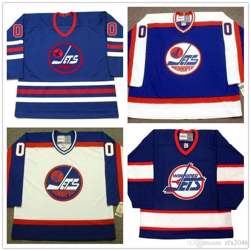 Jersey Custom # 10 Dale Hawerchuk # 13 Teemu Selanne Winnipeg Jets 1970 WHA Vintage Hockey su ghiaccio pullover cucito qualsiasi nome il tuo numero blu