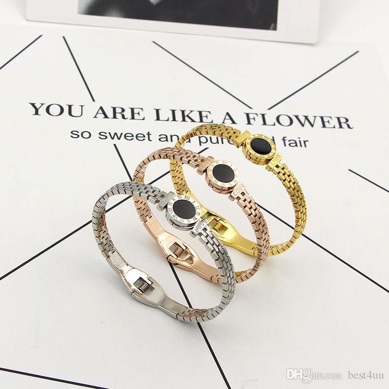 Bracelets numérique en acier inoxydable Rome pour les femmes Bracelet noir creux Fashionista AMOUR titane hommes Bangles Accessoires Bijoux