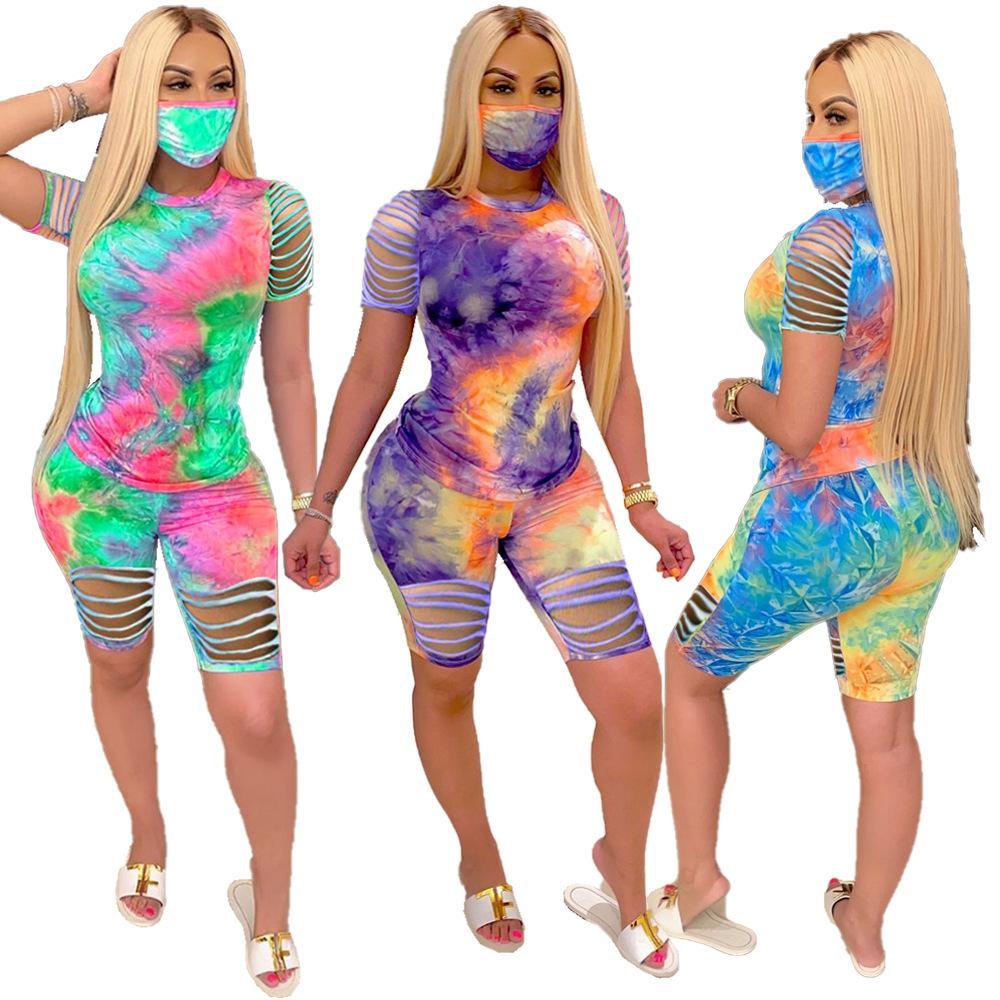 2020 Verão Mulheres Two Pieces Define Fatos Tie-dye Imprimir Buraco Tops Shorts terno Sporty Noite Fitness Club 2 Pcs Outfit Sem máscara
