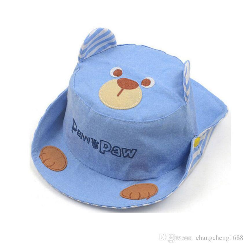 Kids Bucket Hat Outdoor Baby Fisherman Hats For Boys Girls Beach Hat 2019 Spring Cute Cartoon Bear Ear Cap Child Cotton Chapeu MZ7296