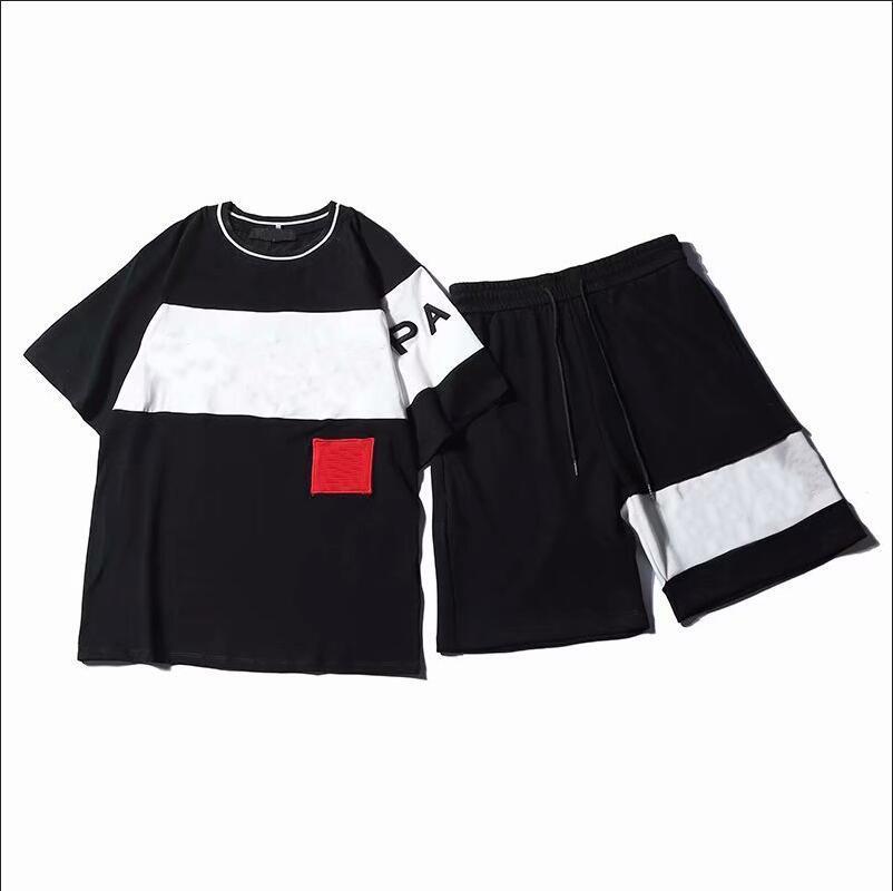 Moda Uomo Tuta con le lettere ricamo di estate delle donne sportivo maniche corte Pullover Jogger Pantalone Tute O-Collo Sportsuit