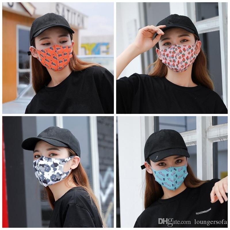 Dış Mekan Stereo Yüz Maskeleri Mascherine Çiçek Meyve Kamuflaj printting Toz Ağız Kapak Karşıtı Damlacık Tükürük Splash Maske 1 95js E1 Maske