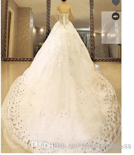 Balón vestido de novia de palabra de longitud con cordones de la catedral rebordear vestido de novia